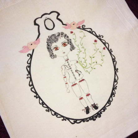 Tote bag Illustré « Baroque Doll » 100% coton bio
