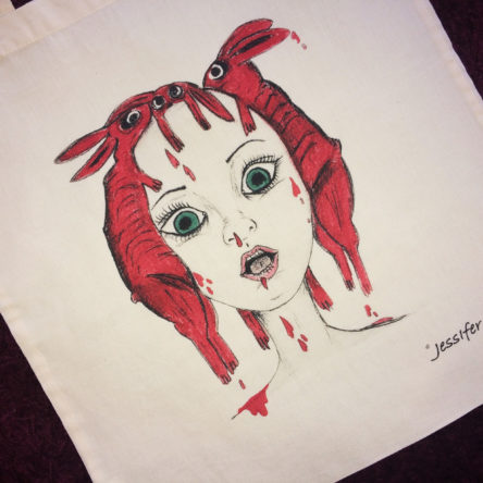 Tote bag Illustré « Blood Rabbits » 100% coton bio