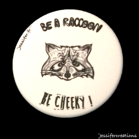 Badge illustré « Raccoon » – 45mm