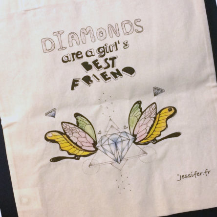 Tote bag illustré « Diamonds » 100% coton bio
